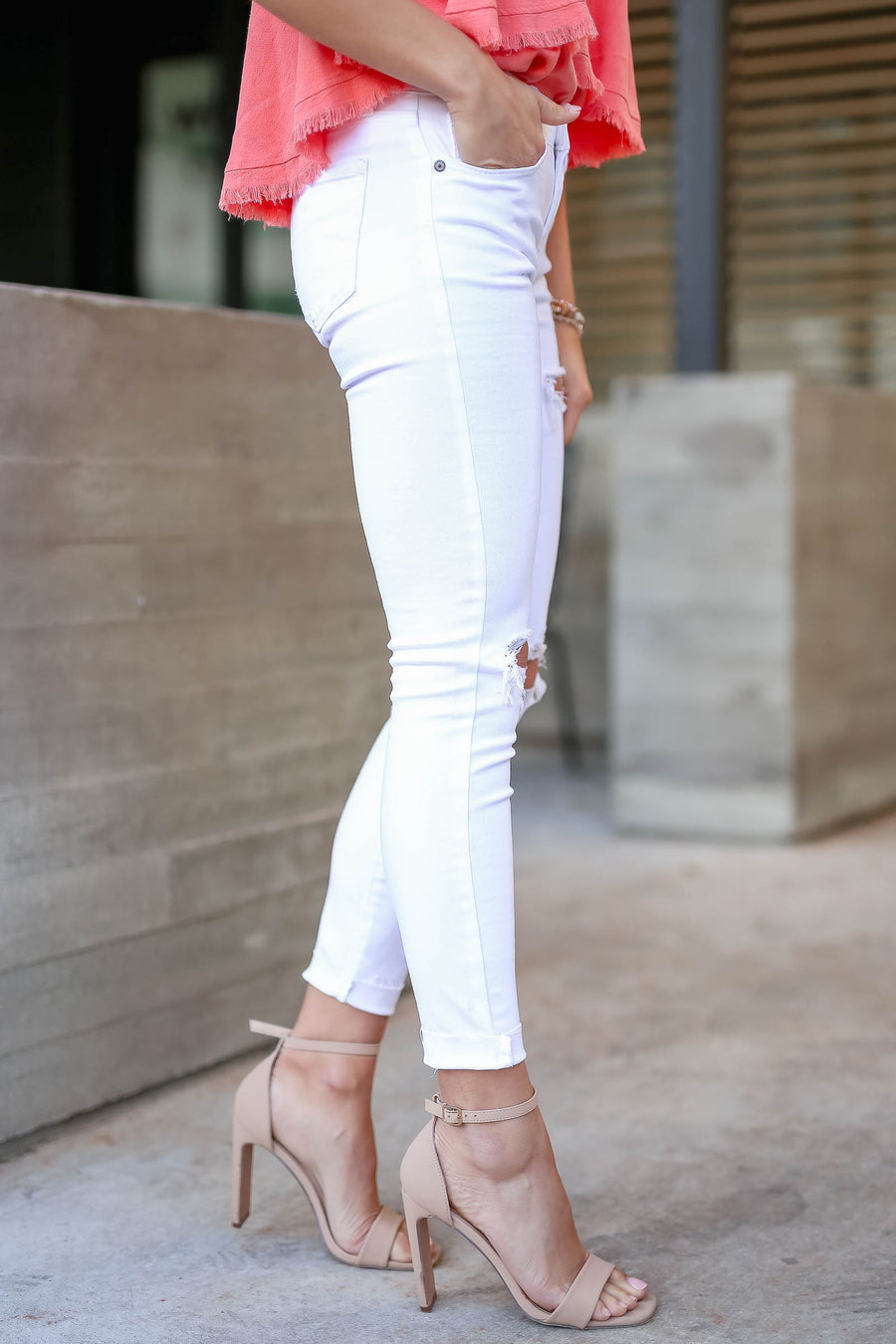 EUNINA Addison Distressed Skinny Jeans - White closet candy women's trendy ripped raw hem jeans front