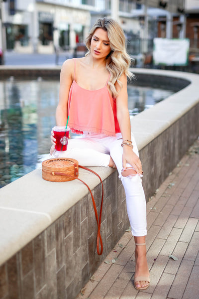 Pick Me Up At 8 Bodysuit - Coral closet candy women's trendy ruffle overlay sleeveless bodysuit sitting
