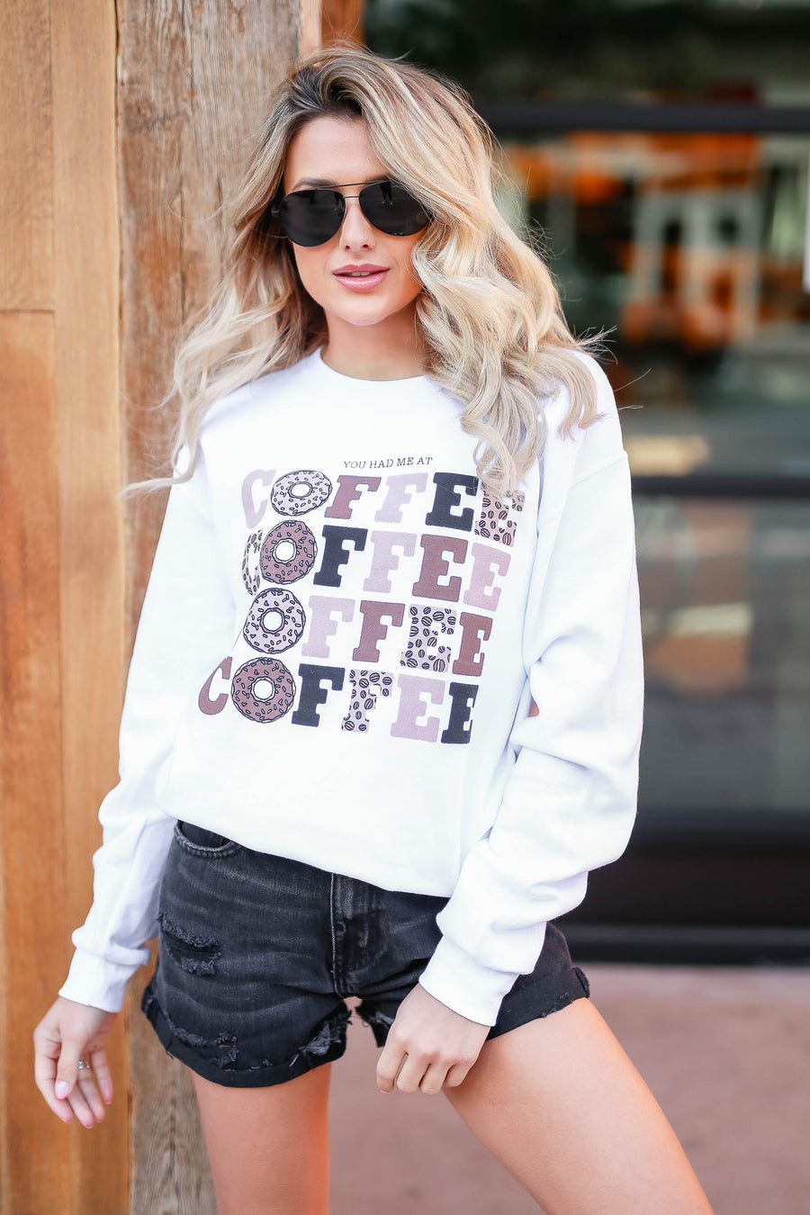 """You Had Me At Coffee"" Graphic Sweatshirt - White closet candy women's trendy fleece lined graphic long sleeve sweatshirt front"