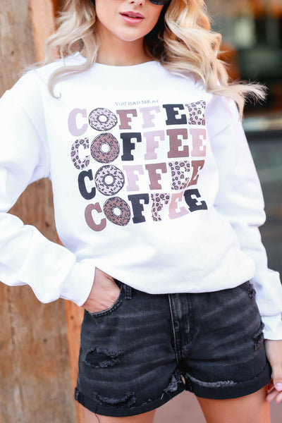 """You Had Me At Coffee"" Graphic Sweatshirt - White closet candy women's trendy fleece lined graphic long sleeve sweatshirt front 3"