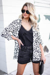 Boys Club Leopard Print Blazer - Ivory closet candy women's trendy animal print generous fitting blazer front