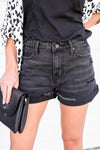 KAN CAN Jaycee Distressed Denim Shorts - Black closet candy women's trendy ripped high rise jean shorts front