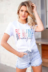 """Be Kind Be Brave Be Amazing"" Graphic Tee - Ash Grey closet candy women's trendy round neck short sleeve graphic top front"