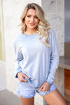 Pushing Through It Long Sleeve Top - Vintage Blue closet candy womens activewear crew neck front
