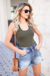 Feeling Good Basic Sleeveless Bodysuits - Olive women's basic sleeveless racerback bodysuit closet candy front