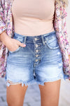 KAN CAN Emmie Denim Shorts - Medium Wash closet candy women's trendy exposed button ripped jean shorts close up front