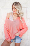 See You at Dusk V-Neck Sweater - Peachy closet candy women's trendy v neck knit sweater front
