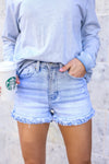 KAN CAN Kylie Denim Shorts - Light Wash closet candy women's trendy high rise distressed jean shorts with layered raw hem front close up