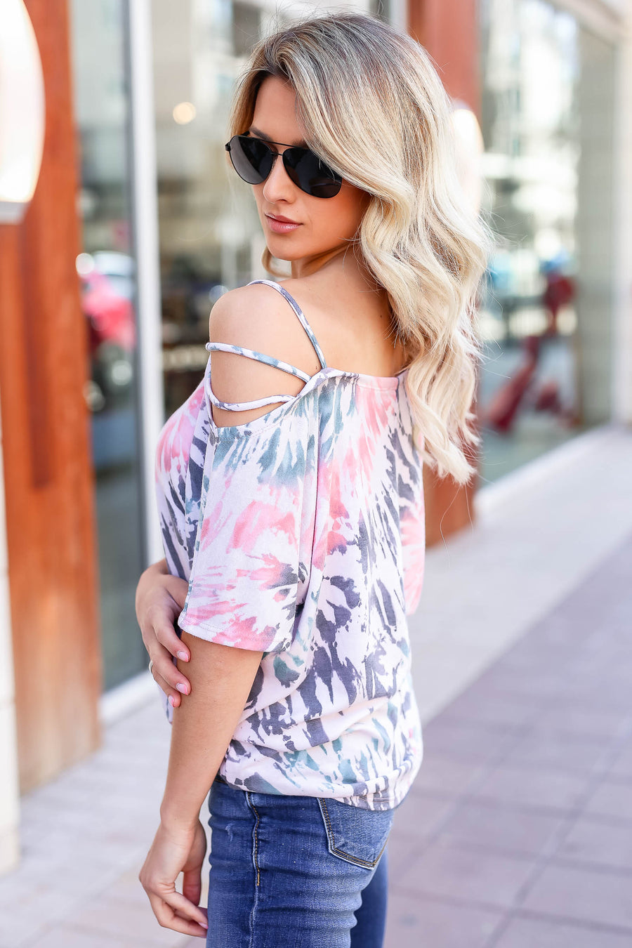 Let's Hit The Road Tie Dye Top - Blush Multi closet candy women's trendy strappy cold shoulder top front