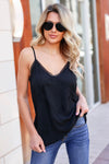 Chasing After You Cami - Black closet candy women's trendy spaghetti strap lace trimmed camisole front