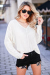 See You at Dusk V-Neck Sweater - Cream closet candy women's trendy v neck knit sweater front