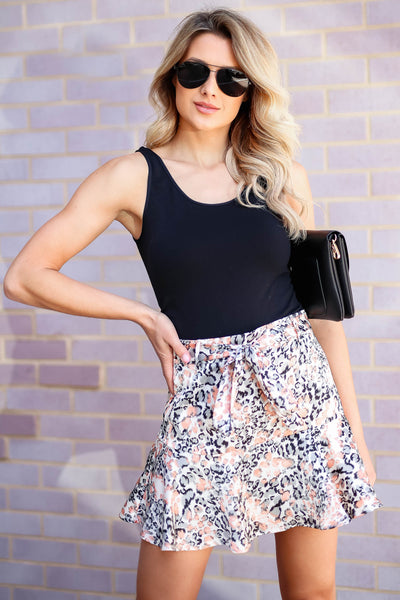 Swaying In the Breeze Leopard Satin Skirt - Cream closet candy women's trendy animal print ruffled skirt front 4