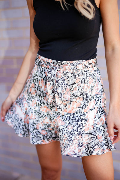 Swaying In the Breeze Leopard Satin Skirt - Cream closet candy women's trendy animal print ruffled skirt front close up