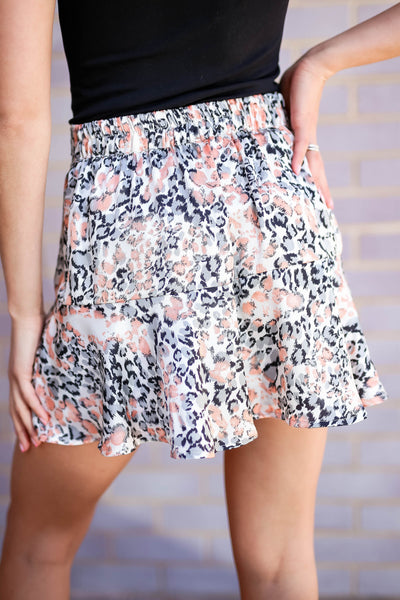 Swaying In the Breeze Leopard Satin Skirt - Cream closet candy women's trendy animal print ruffled skirt back