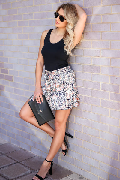 Swaying In the Breeze Leopard Satin Skirt - Cream closet candy women's trendy animal print ruffled skirt side