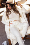 You Know The Drill Loungewear - Ivory closet candy women's trendy lounge crop top joggers and cardigan sitting