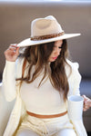Indio Dreamer Wide Brim Hat - Beige closet candy women's trendy western hat with bulky chain detail 3