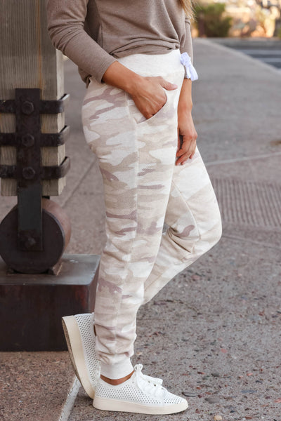 Give It A Rest Camo Joggers - Beige closet candy women's trendy camouflage loungewear jogger pants 4