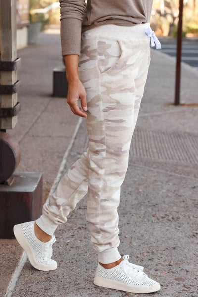 Give It A Rest Camo Joggers - Beige closet candy women's trendy camouflage loungewear jogger pants 5