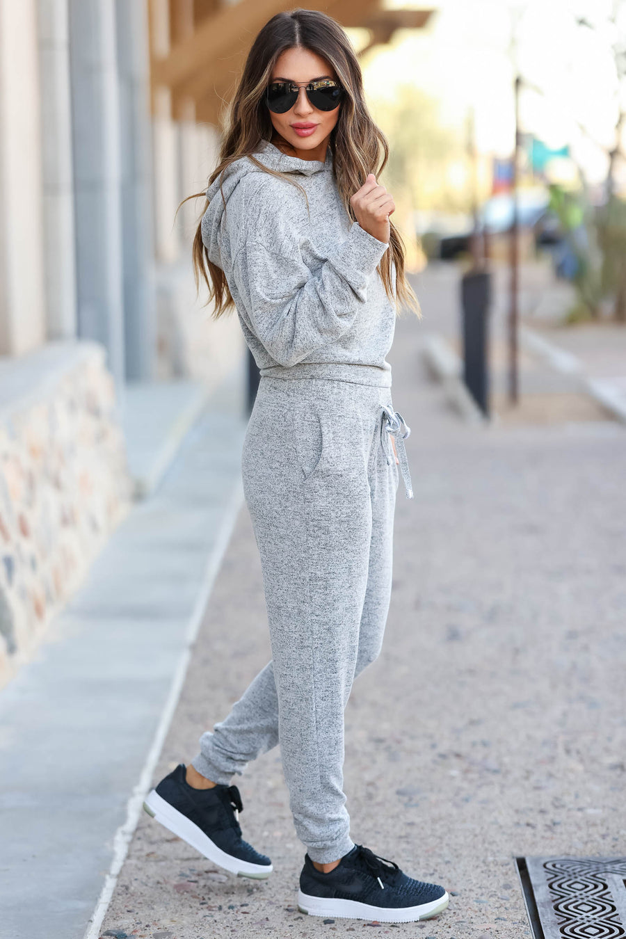 Off The Clock Loungewear - Heather Grey closet candy women's trendy loungewear hooded top and jogger sweatpants sitting
