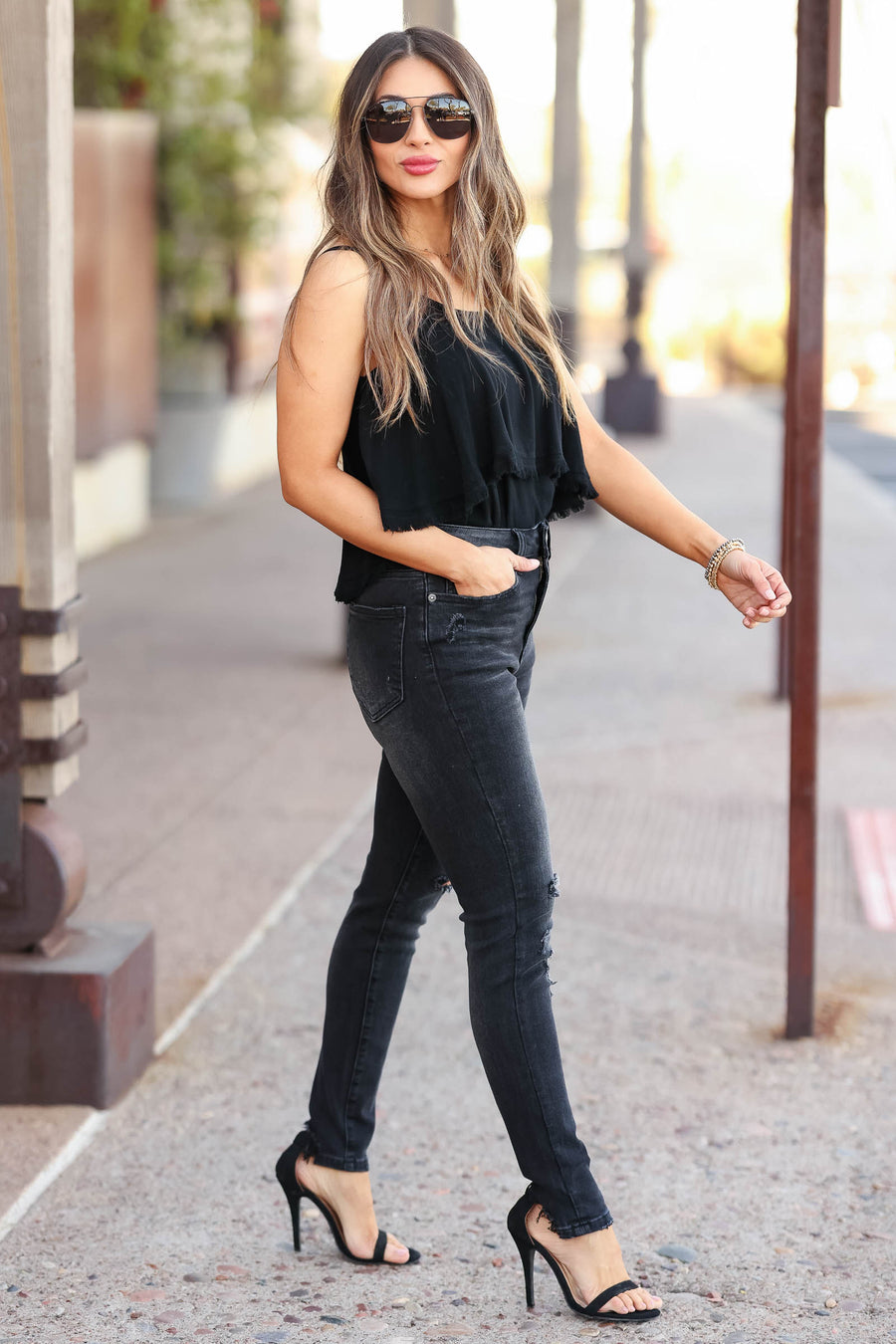 RISEN Zoey Distressed Skinny Jeans - Vintage Black closet candy women's trendy vintage wash ripped jeans front