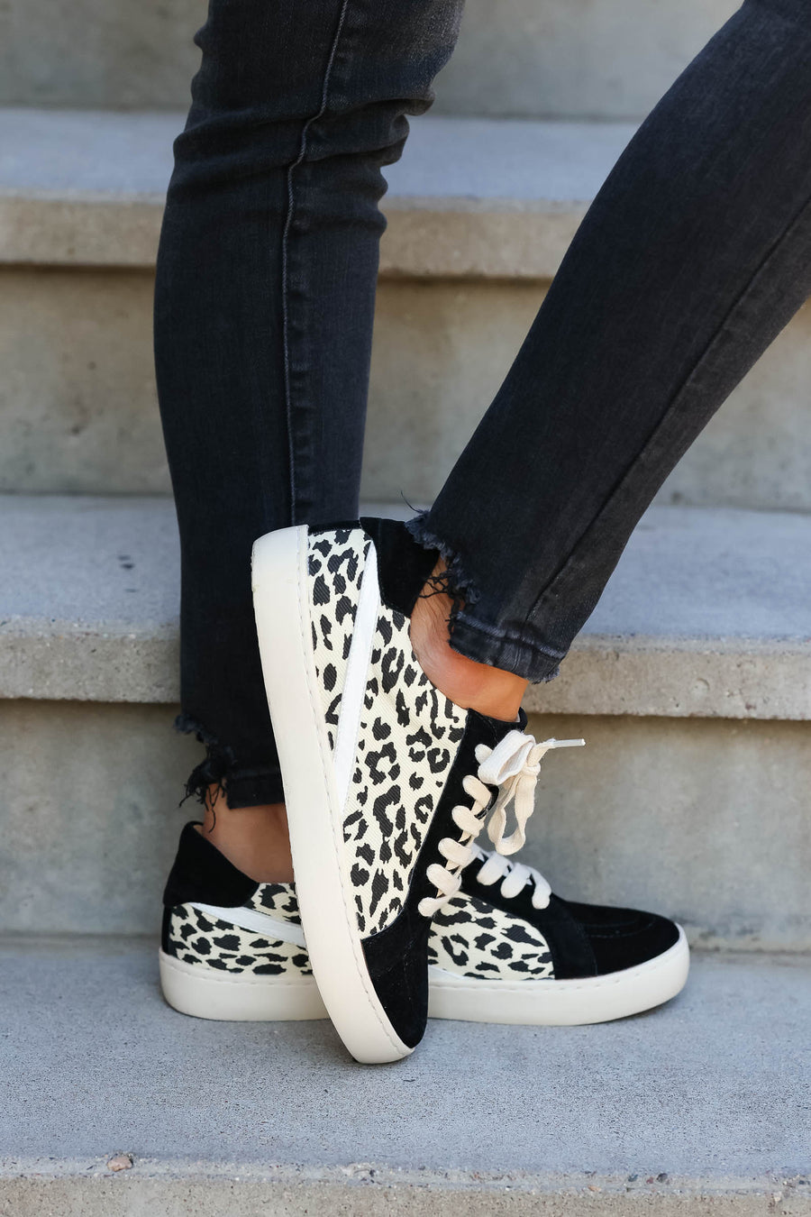 She's Got Hustle Leopard Sneakers - Black closet candy women's trendy animal print canvas and vegan suede canvas 1