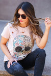 Edgy Chic Distressed Graphic Tee - Champagne closet candy women's trendy floral leopard skull distressed graphic tee sitting