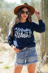 """Made in the West"" Graphic Sweatshirt - Navy closet candy women trendy long sleeve graphic pullover front"