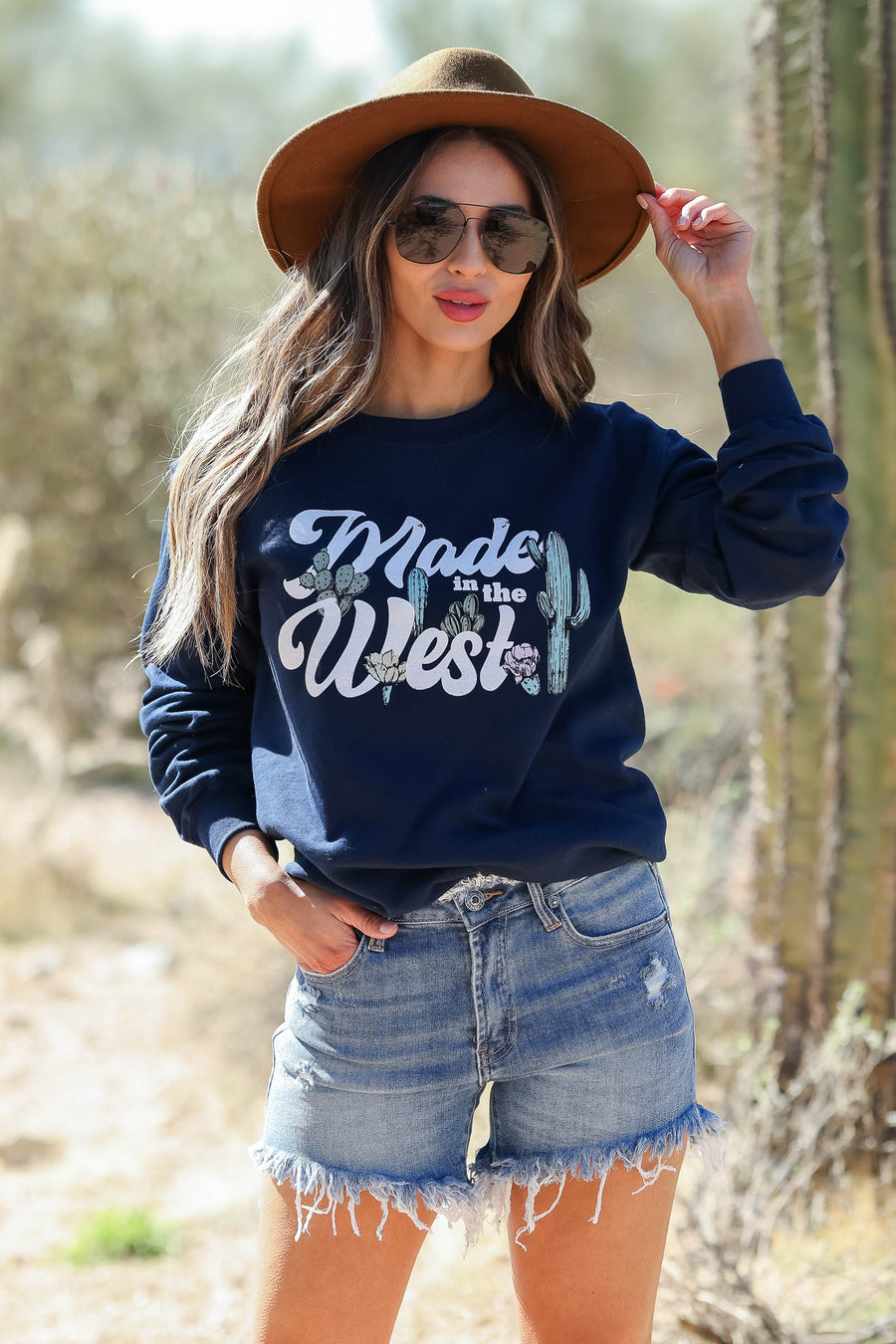 """Made in the West"" Graphic Sweatshirt - Navy closet candy women trendy long sleeve graphic pullover sitting"