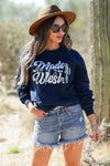 """Made in the West"" Graphic Sweatshirt - Navy closet candy women trendy long sleeve graphic pullover front 2"