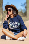 """Made in the West"" Graphic Sweatshirt - Navy closet candy women trendy long sleeve graphic pullover sitting 2"