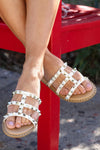 Madison Studded Sandal - White closet candy women's trendy slip on sandal with stud details 1