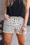 KAN CAN Natasha Leopard Print Denim Shorts - Khaki closet candy women's trendy high rise animal print raw hem shorts front