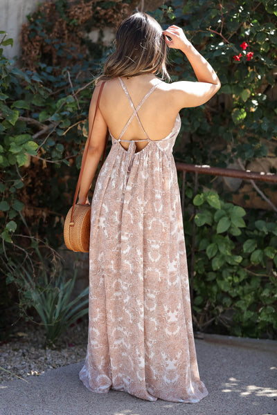 Come Away With Me Maxi Dress - Dusty Rose closet candy women's beautiful printed open back long dress back 3