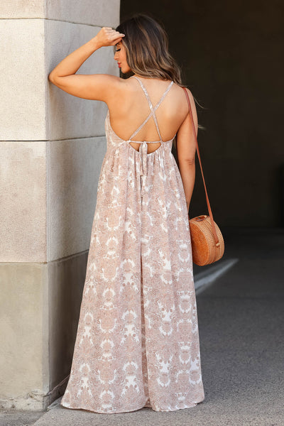 Come Away With Me Maxi Dress - Dusty Rose closet candy women's beautiful printed open back long dress back 2
