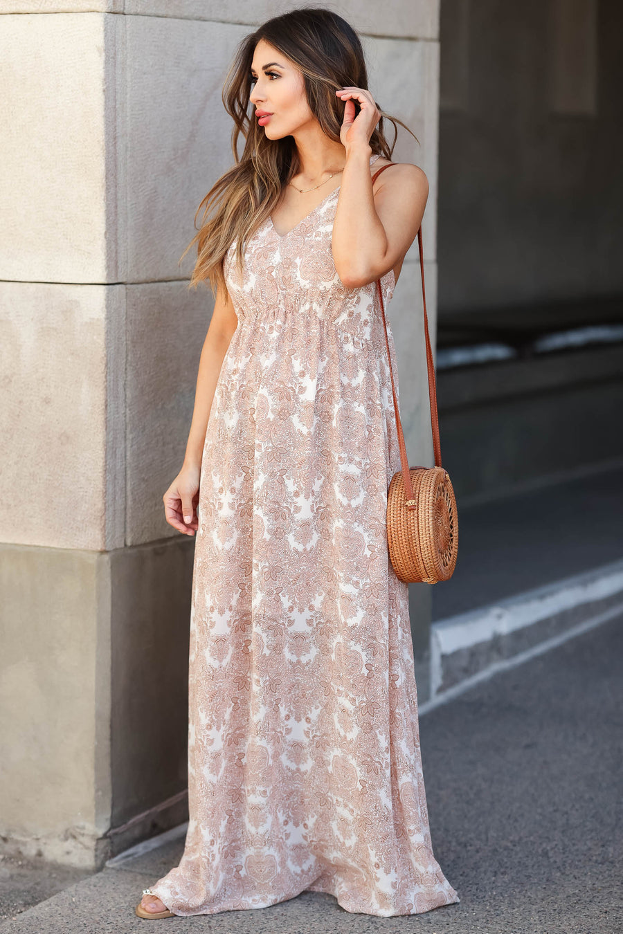 Come Away With Me Maxi Dress - Dusty Rose closet candy women's beautiful printed open back long dress back