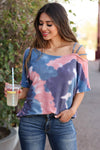 Let's Hit The Road Tie Dye Top - Multi closet candy women's trendy strappy cold shoulder short sleeve colorful top front