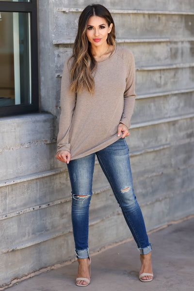 CBRAND Chase Your Dreams Long Sleeve Top - Mocha closet candy women's trendy solid raw edge shirt front 3