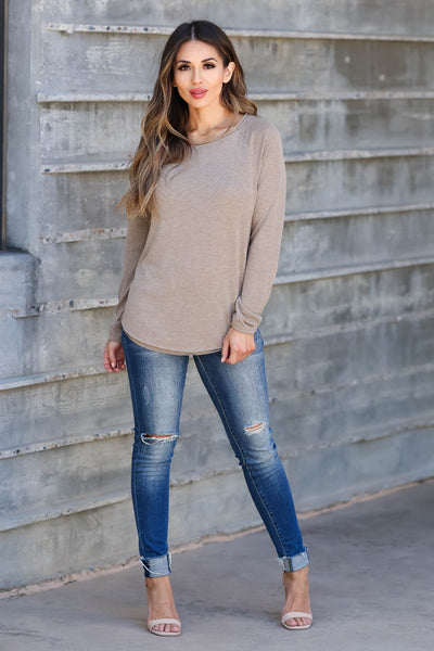 CBRAND Chase Your Dreams Long Sleeve Top - Mocha closet candy women's trendy solid raw edge shirt front 2