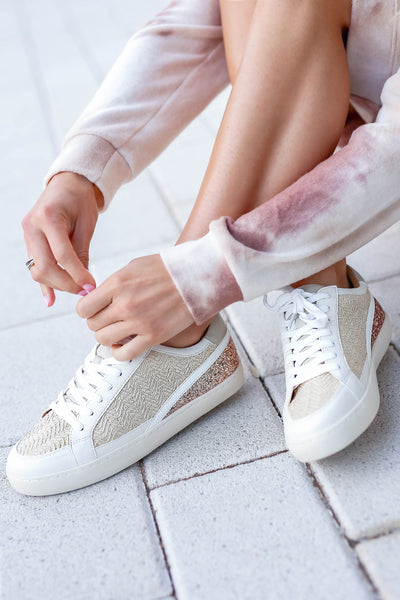 Harlow Sneakers - Beige closet candy women's trendy boho sneakers with straw and glitter contrast 2