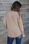 CBRAND Chase Your Dreams Long Sleeve Top - Mocha closet candy women's trendy solid raw edge shirt back