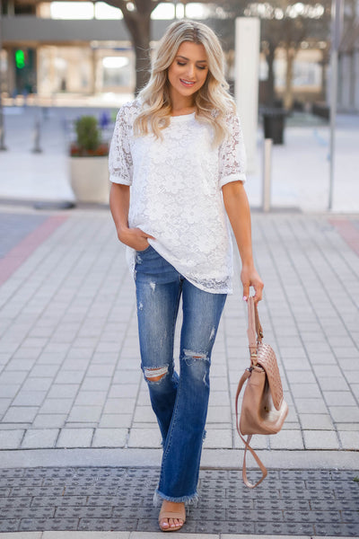 Take You Downtown Lace Top - Off White closet candy women's trendy short puff sleeve lace top front 3
