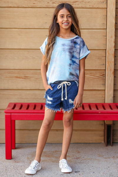 (KIDS) See You on the Playground Top  - Blue Tie Dye closet candy children's cuffed short sleeve shirt front
