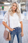 Take You Downtown Lace Top - Off White closet candy women's trendy short puff sleeve lace top front
