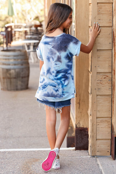 (KIDS) See You on the Playground Top  - Blue Tie Dye closet candy children's cuffed short sleeve shirt back