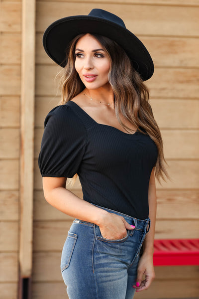 In Your Dreams Short Sleeve Ribbed Bodysuit - Black closet candy women's trendy bodysuit with sweetheart neckline side