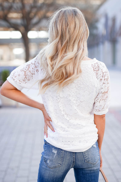 Take You Downtown Lace Top - Off White closet candy women's trendy short puff sleeve lace top back