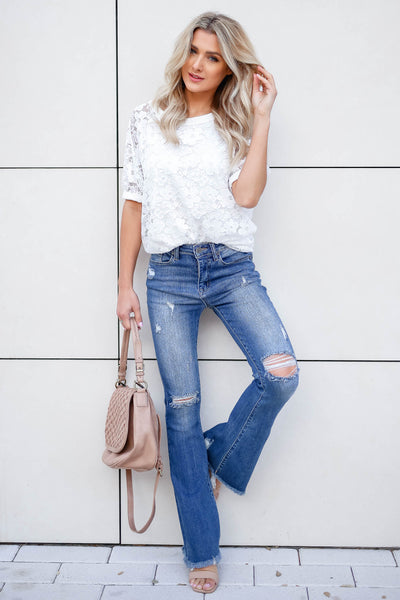 Take You Downtown Lace Top - Off White closet candy women's trendy short puff sleeve lace top front 2