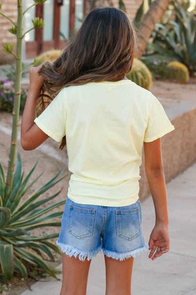 (KIDS) Mia Denim Shorts W/ Sequin Pockets - Medium Wash closet candy children's raw hem jean shorts back