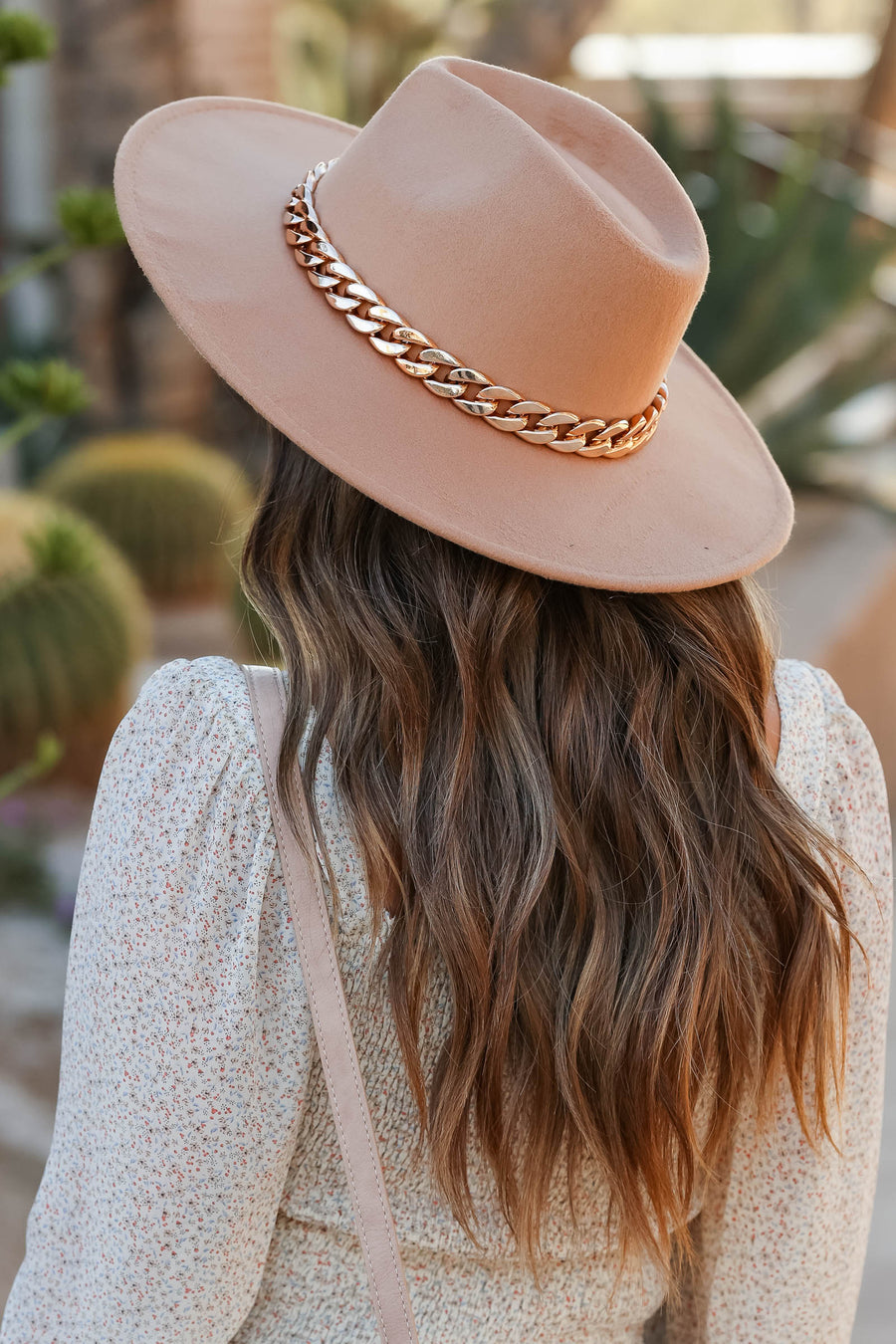 Indio Dreamer Wide Brim Hat - Tan closet candy women's trendy western hat with bulky chain detail 1